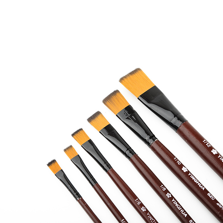 6Pcs Nylon Hair Wooden Handle Different Size Watercolor Acrylic Oil Paint Brush Set For Drawing Painting Art Supplies