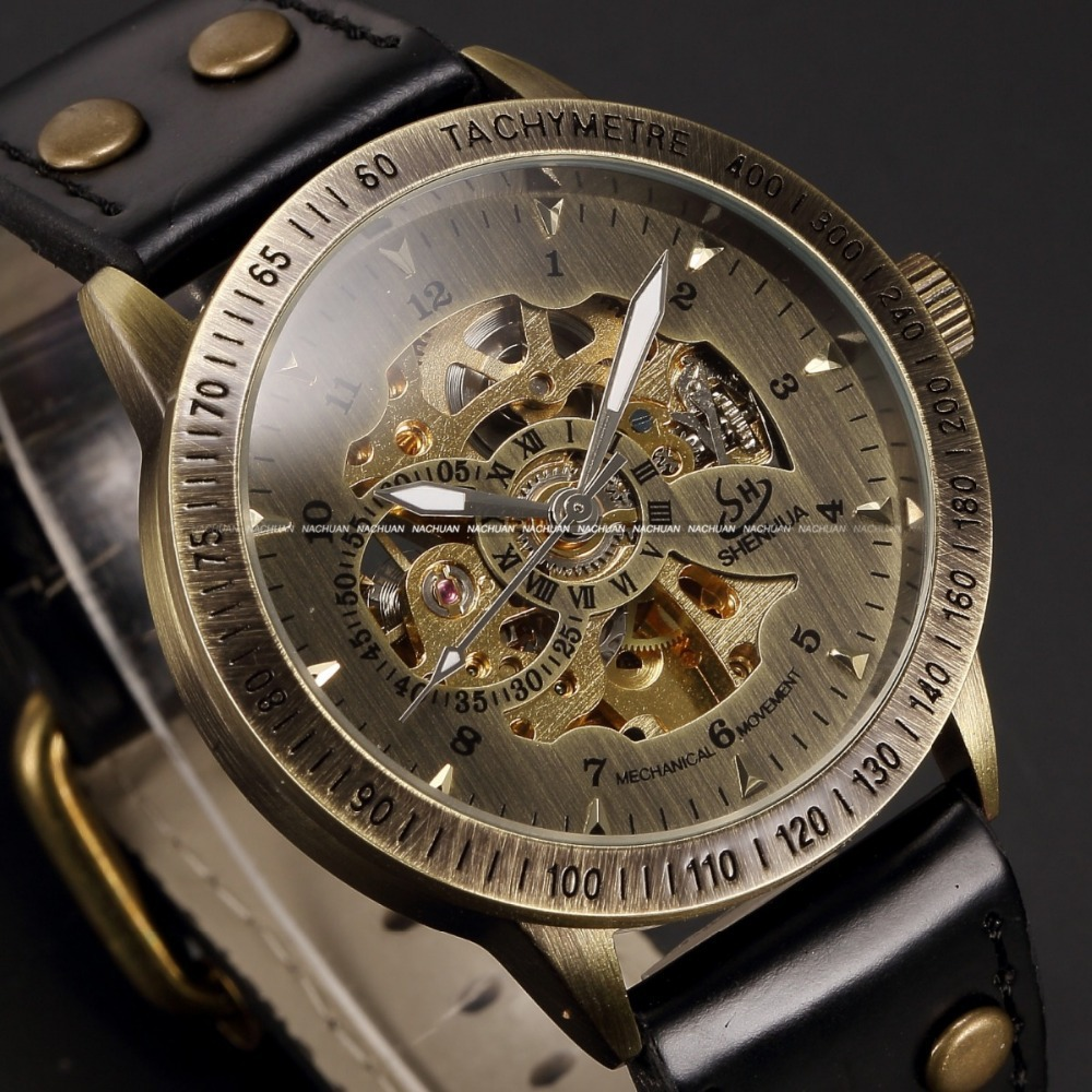 Vintage Bronze Men Automatic Skeleton Watch Male Leather Strap Steampunk Mechanical Watch Wholesale Clearing