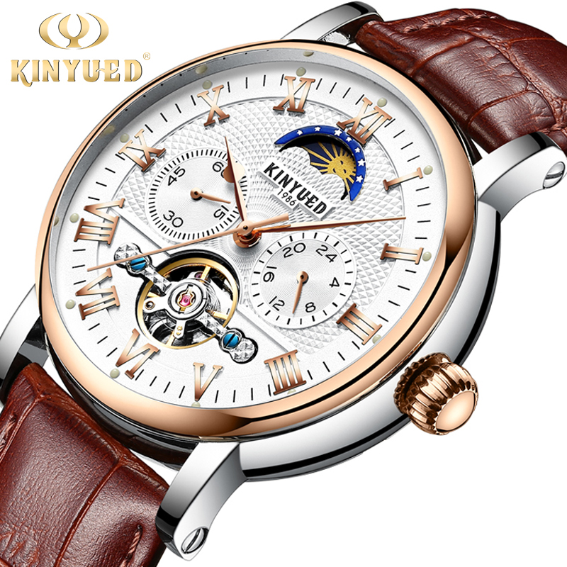 цена на KINYUED Automatic Watch Men Moon Phase Mechanical Skeleton Tourbillon Mens Watches Top Brand Luxury montre homme erkek kol saati