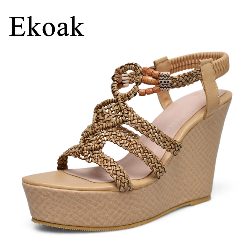 Ekoak New 2018 Fashion Wedges Women Sandals Sexy String Bead Women Gladiator Sandals Bohemia Style Summer Shoes Woman women wedges sandals plus size 36 42 woman summer shoes 2018 new fashion casual shoes for woman european gladiator sandals