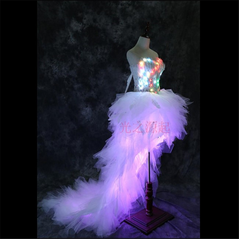 LZ11 Conduziu a luz luminosa trajes vestidos cantor dancer roupas sexy stage show roupa desgaste do casamento bar boate roupas modelo