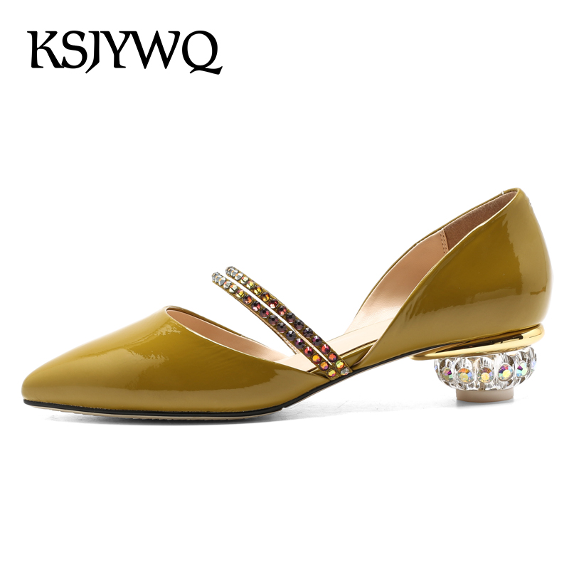 KSJYWQ Yellow Genuine Leather Women Sandals 3.6 CM Chunky Heels Rhinestone Summer Style Pumps Sexy Woman Shoes Box Packing T3-29 ksjywq genuine leather flowers women sandals sexy exposed toe white shoes summer style clip toe shoes woman box packing a2571