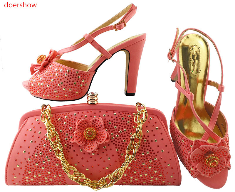 doershow coral Shoes and Bag Set Decorated with Rhinestone High Quality Matching Italian Shoes and Bag for Wedding LULU1-19 doershow latest purple color shoes and bag set decorated with rhinestone high quality matching italian shoe and bag set go1 11