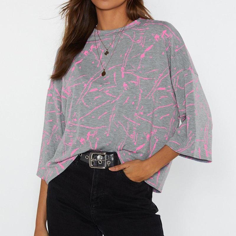Printed T Shirt Women 2019 Summer Batwing Short Sleeve Striped Tshirt Casual Ladies Tunic O-neck Tops Harajuku Camiseta Mujer