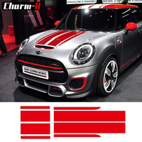 Bonnet Stripe Graphics Sticker Hood Trunk Rear Decal Stickers For Mini Cooper F56 JCW Black And