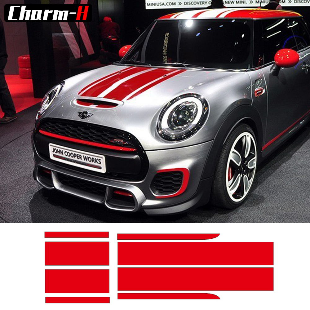 Front Bonnet & Rear Taligate Stripes Hood Trunk Engine Cover Trunk Decal Stickers for MINI John Cooper Works F56 JCW