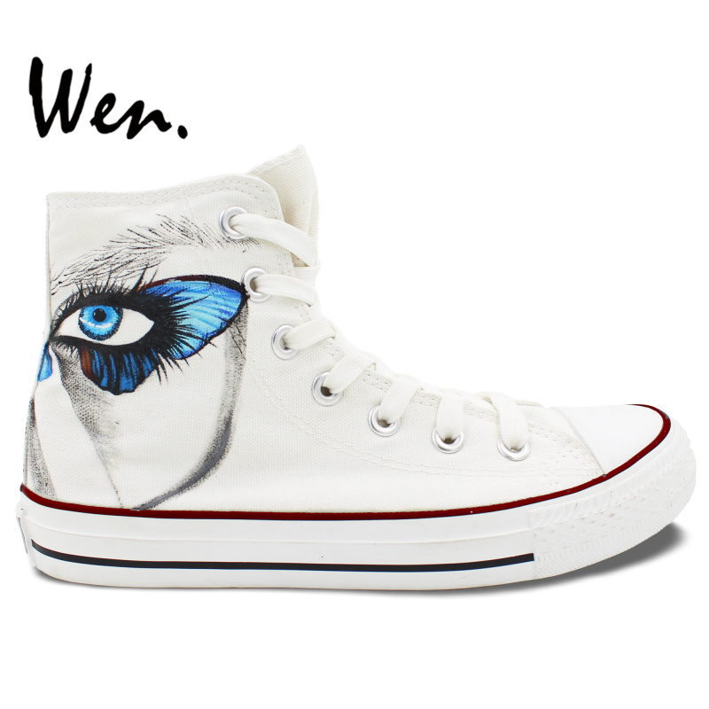 Wen Original Design Custom Hand Painted Shoes Butterfly Eyes White Shoes  Men Women s High Top Canvas Sneakers ad8fd0d84