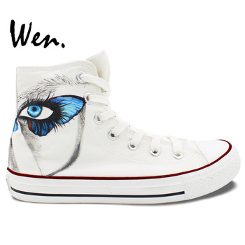Wen Original Design Custom Hand Painted Shoes Butterfly Eyes White Shoes Men Women's High Top Canvas Sneakers