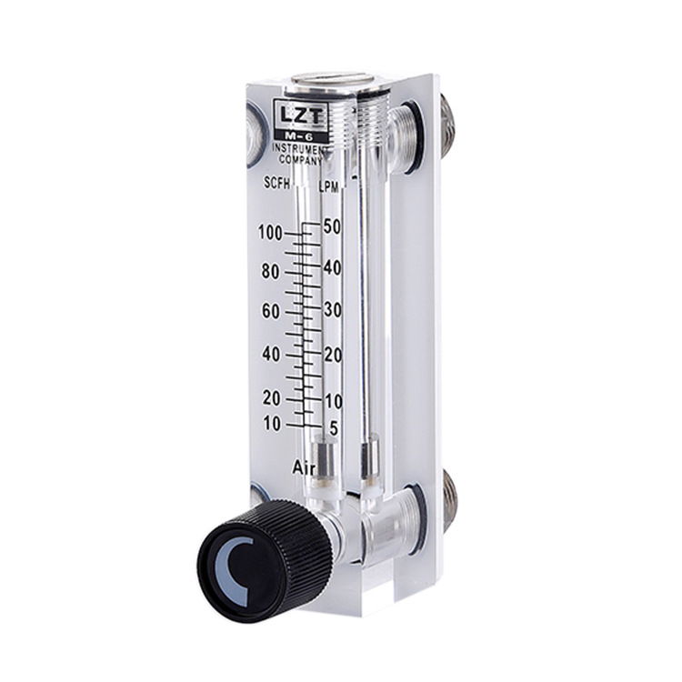 LZT-6T 10-100ml/min Square Panel Type Gas Flowmeter Air Flow Meter rotameter lzm 6t 0 5 3lpm 1 6scfh panel acrylic type flowmeter flow meter with adjust valve brass fitting female