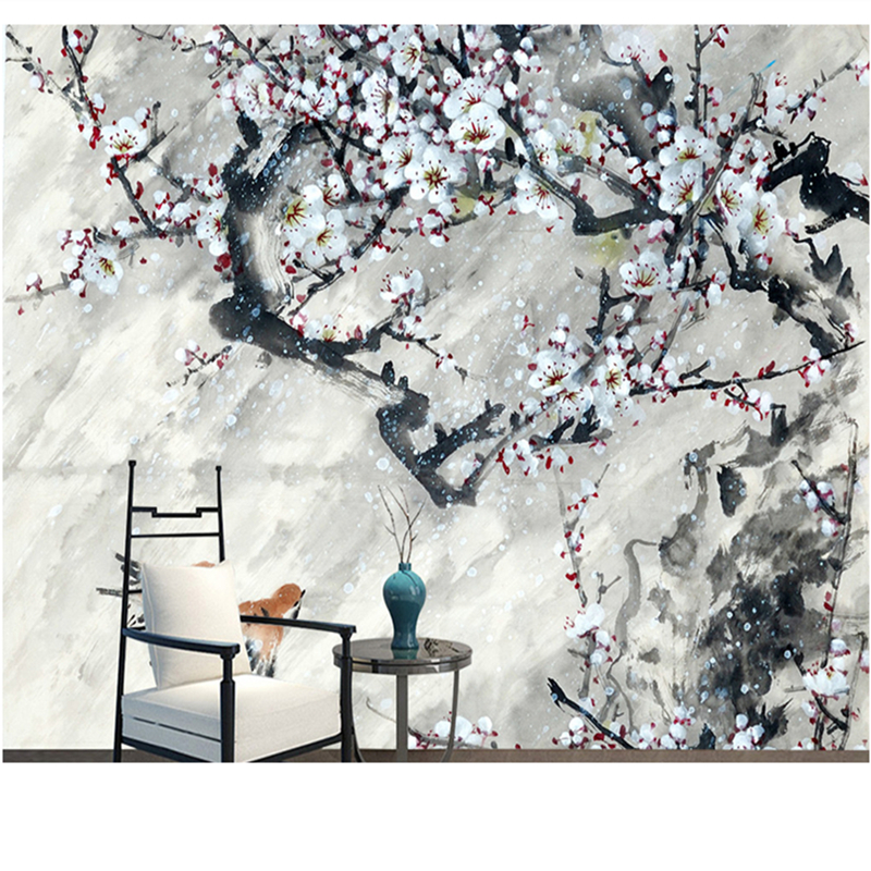 Chinese Style 3D Wall Murals Large Photo Wallpapers for Living Room Bedrooms Forest Nature Plum Flowers Wall Papers Home Decor 3d flowers wallpapes murals custom photo wallpapers for living room bedroom wall papers home decor blue florals painting murals