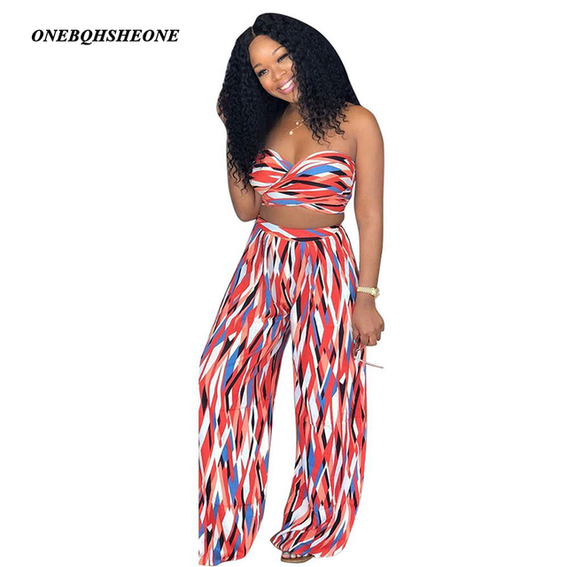 68b97b599 2018 Summer Plus Size 2 piece Set Women tie dye flare pants set Bandage  Sleeveless Crop