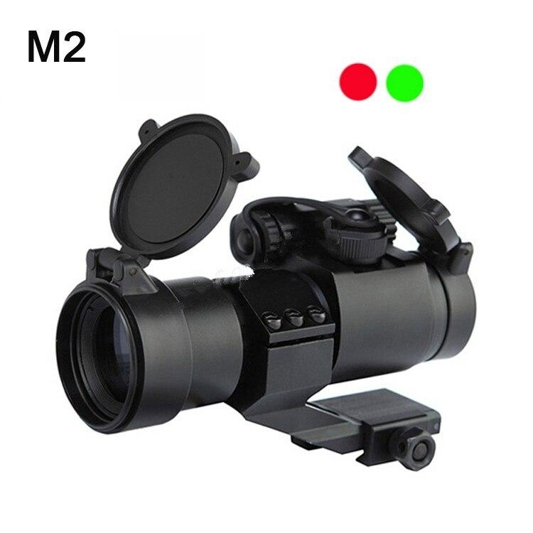 Venda quente de Caça Riflescopes 32mm M2 Avistamento Telescópio Mira Laser Pistola com Reflex Red Green Dot Scope para Picatinny ferroviário