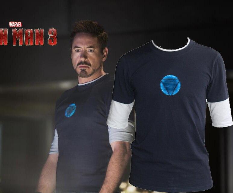 Iron Man 3 Tony Stark Navy Blue False Two Piece Fluorescent Mid Sleeve T-shirt