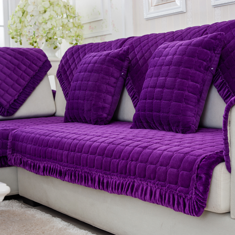 European Style Purple Thicken Sofa Slipcovers Plush Sectional Sofa Cover Fundas de Couch Cushionns