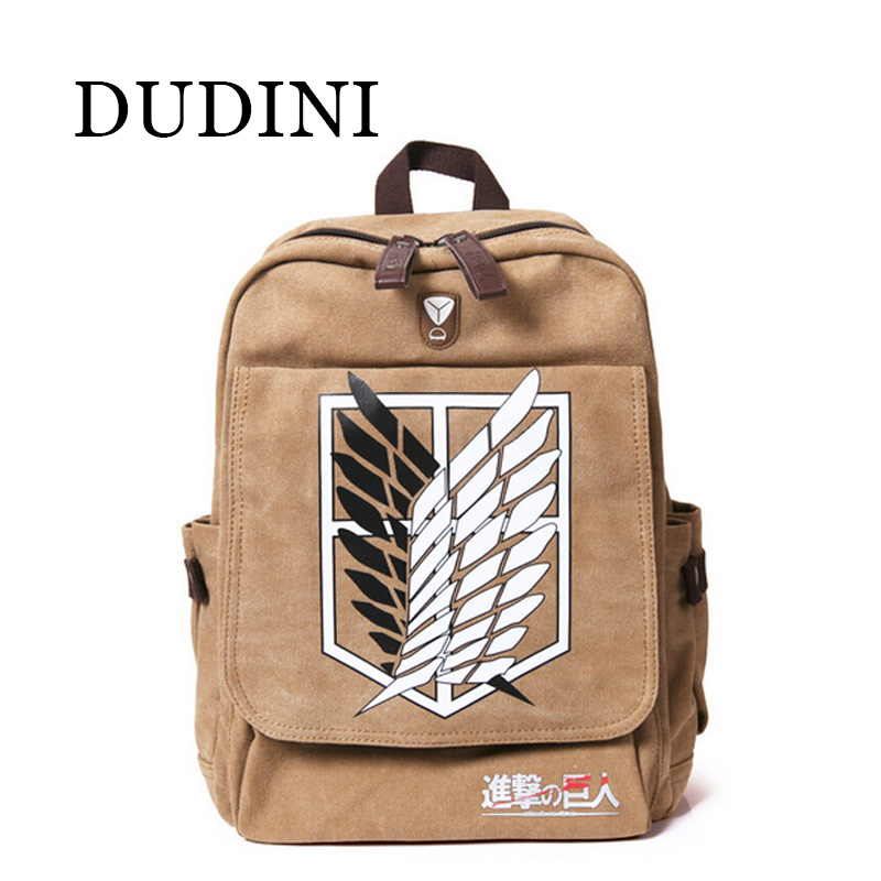 DUDINI New Quality Shingeki No Kyojin Attack On Titan Backpack Schoolbag Shoulder Bag Bolsos De Imitation Men Knapsack Scouting