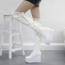 Winter fall 2016 women wedge heel boots over the knee women genuine leather shoes lace shoes