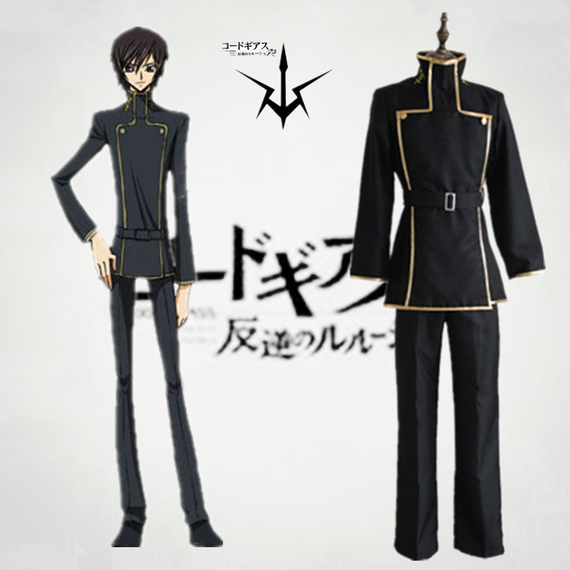 Free shipping Code Geass Anime Cosplay Lelouch Lamperouge  Cartoon Cos Halloween Cosplay Costume top+pants+belt