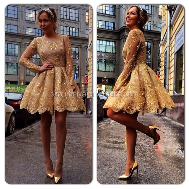 Gold Puffy Sleeve Dress