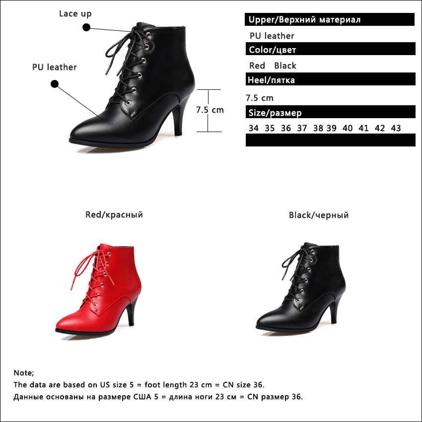 QUTAA 2020 kadın yarım çizmeler Lace Up sivri burun Pu deri ince yüksek topuk tüm maç kadın moda yarım çizmeler boyutu 34 -43