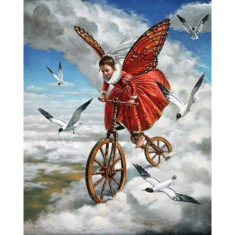 5D DIY Полная квадратная распродажа ромбовидный рисунок вышивка крестиком-голубь мира девушка-3d круглая Алмазная вышивка Мозаика Декор для дома из смолы