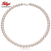 Genuine Freshwater Pearl Necklaces For Women S 9 10mm White Natural Pearl Choker Necklaces Fine Jewelry
