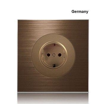 86 type 1 2 3 4 gang 1 2way Coffee aluminum alloy panel Switch socket  Five hole Europe Industry Switch France Germany UK socket 7