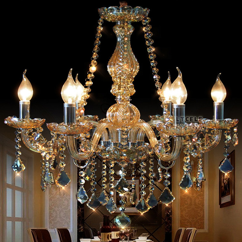 Bedroom Kitchen chandelier for home ligthting Cognac Color Lustre candelabro Modern crystal chandelier light for dining room