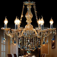Bedroom Kitchen chandelier for home ligthting Cognac Color Lustre candelabro Modern crystal chandelier light for dining room