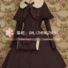 Зимнее шерстяное пальто в готическом Стиле Лолита для косплея; Рождественский костюм; пальто+ шаль+ гетры для рук; 7 цветов; Новинка