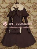 Косплэй Зима готическая лолита Шерстяное пальто рождественский костюм пальто + платок + handwarmers 7 цветов Новые