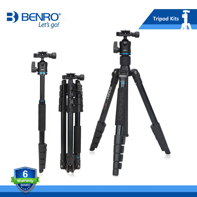 BENRO IT15 Tripod Portable Aluminium Tripods Reflexed Removerble Traveling Monopod Carrying Bag Max Loading 4kg Free