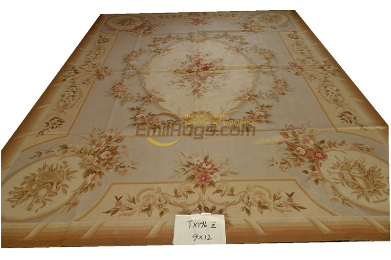 Tx196 bleu Pastel chameau Beige Aubusson Design Shabby fait main Aubusson tapis gc8aubyg13