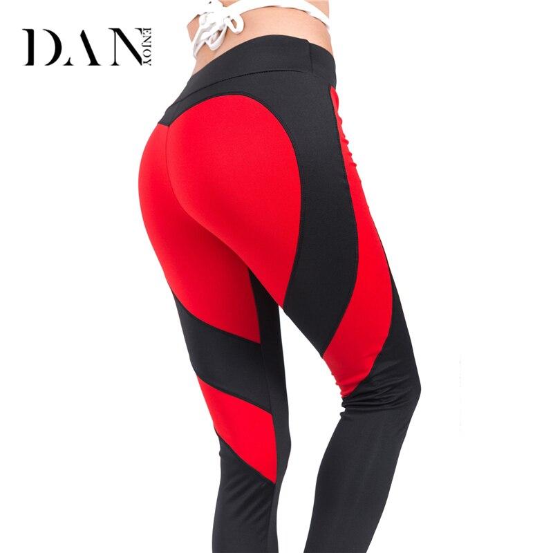 DANENJOY Fitness Yoga Legging Women Red Black Yoga Pants Heart Sexy Patchwork Heart Hips Push Up Leggin Workout Running Pants