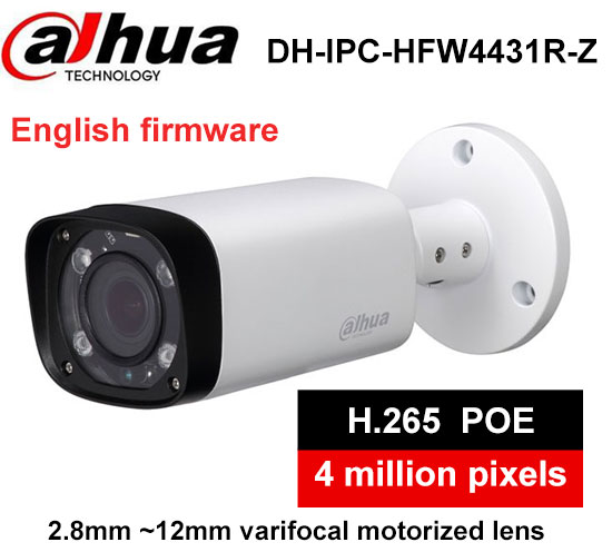 Dahua H.264 H.265 IPC-HFW4431R-Z 2.8-12mm Varifocal Motorized Lens Network 4MP IR 80M IP camera POE replace IPC-HFW4431R-Z h 265 264 ipc lwirdnts400s 4mp ip camera 2 8 12mm varifocal manual zoom lens 4mp ir 30m with sd card slot poe network camera