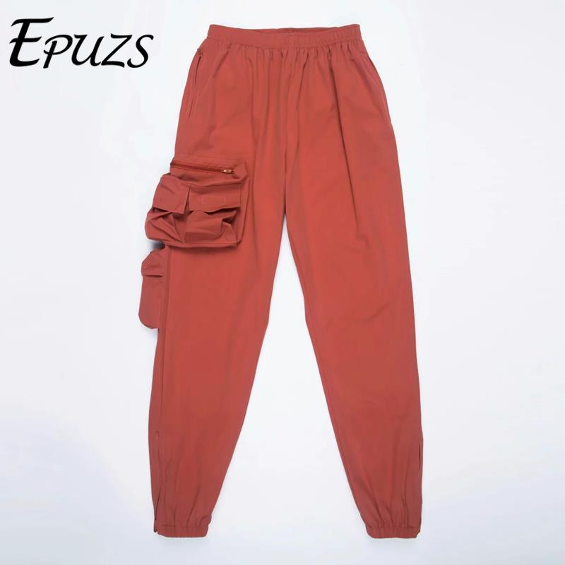 2019 pocket High waist   pants   women Orange loose joggers women camo harem   pants   punk cargo   pants     capris   for women trousers