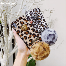 hot deal buy aoweziic winter luxury leopard print for iphone x xs max xr phone case metal leopard head 6s all-inclusive soft edge 7plus plush