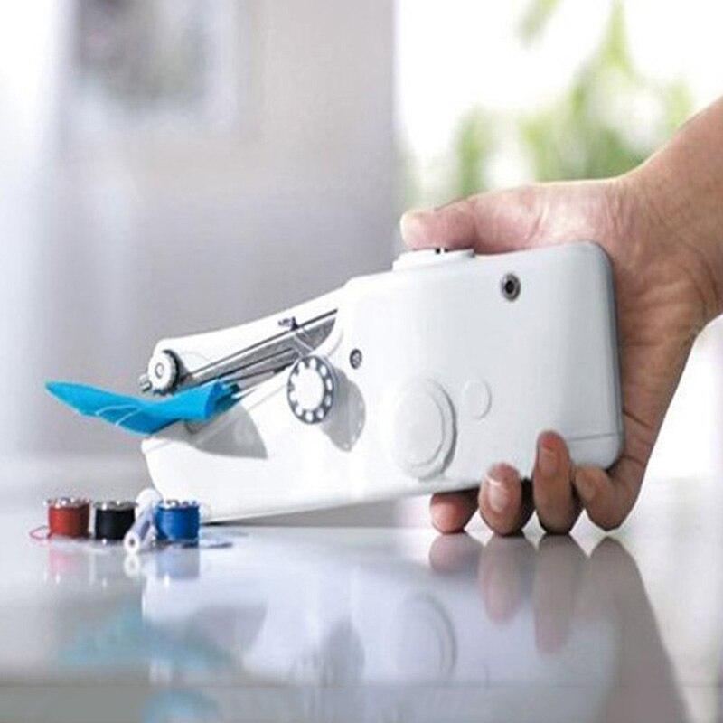 2017 Mini Portátil Handheld Ponto Sew costura Sem Fio Roupas Tecidos máquinas de costura Elétrica Máquina De Costura do Ponto Definido