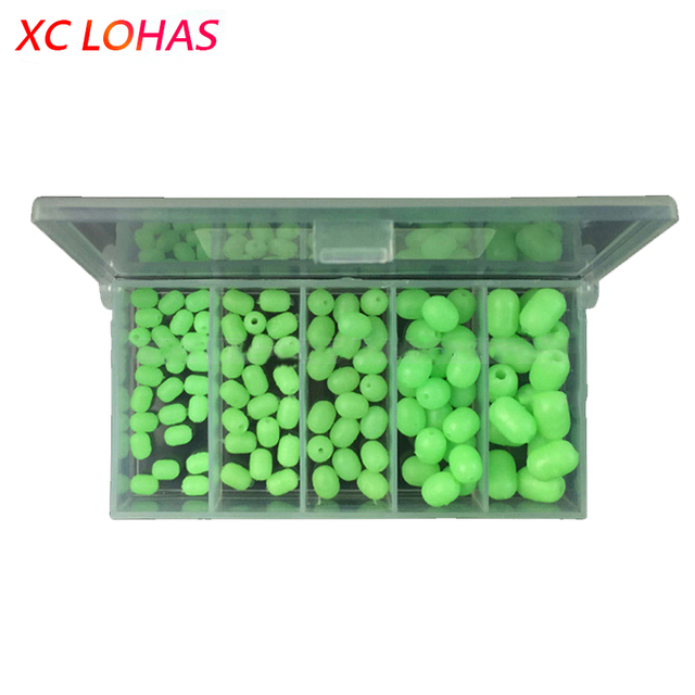 Hot 100pcs/Box Multiple Size Fishing Beads Night Luminous Green Beads Anti-collision Bead Lure Fishing Tackle Accessories