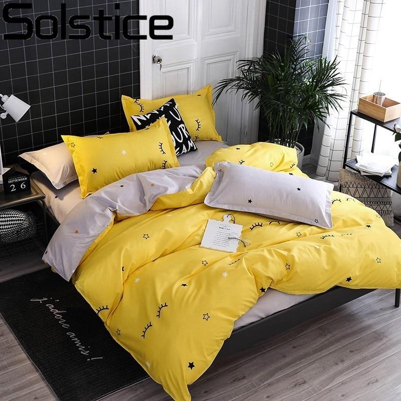 Solstice Home Textile Yellow Gray Eye Simple Bedding Sets Duvet Cover Pillowcase Flat Sheet Boy Teen Adult Girls Bed Linen Queen