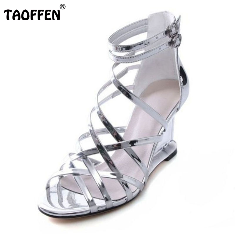 TAOFFEN Fashion Women Real Genuine Leather Wegdes Sandals Peep Toe Metal Buckle Wedges Sandals Summer Club Shoes Size 34-39 mmnun 2017 boys sandals genuine leather children sandals closed toe sandals for little and big sport kids summer shoes size26 31