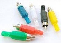 60 יחידות 6 הצבע RCA Plug זכר כבל אודיו מתאם מחבר הלחמה סוג