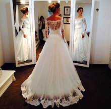 Elegant vestido de noiva Arabian Off the Shoulder A Line Appliqued Lace Long Sleeve bridal gown 2018 mother of the bride dresses