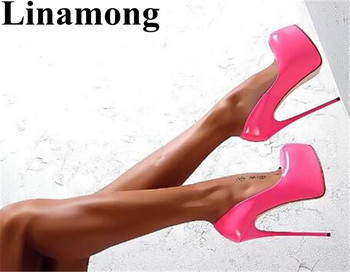 2019 Fashion Pink Color Classic Flatform Thin High Heel Spring And Summer Hottest Party Shoes Sexy Shallow Women Pumps