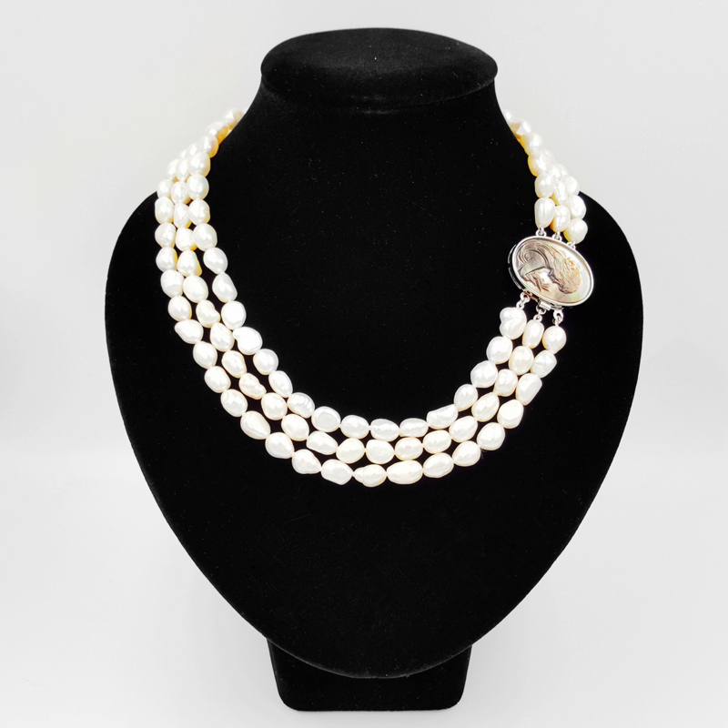 LiiJi Unique Natural White Baroque Pearl 7-8mm Beads 3strand Carved Shell Beauty Girl Box Clasp Fashion Necklace 18''