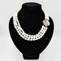 LiiJi Unique Natural White Baroque Pearl 7 8mm Beads 3strand Carved Shell Beauty Girl Box Clasp Fashion Necklace 18''