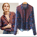 2017 new spring and autumn commuting  loose cardigan long-sleeved floral printed chiffon shirt shirt female