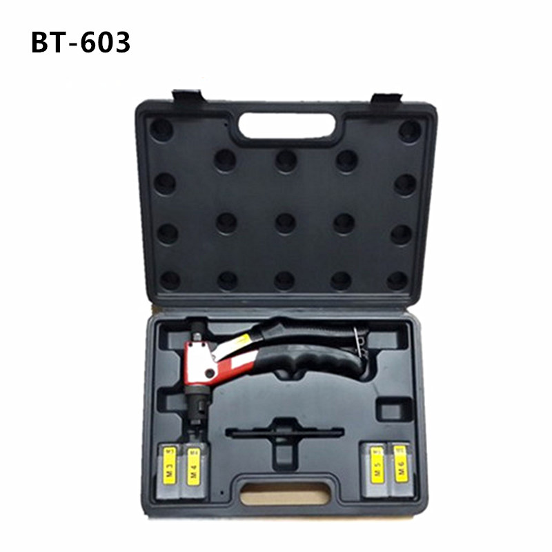 hot sales free shipping 8 inch 200mm hand riveter rivet gun riveting tools  M3 M4 M5 M6 dies BT603 plastic case packeage hot sales high quality hand riveter free shipping pull rivet nut riveting tools with one m4 die bt 606