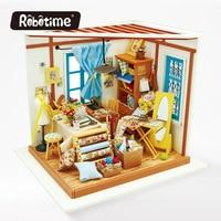 Robotime DIY Doll House Con La Luce 3D Puzzle Di Legno Fatti A Mano Artigianato Ragazze Regali Mini Stoviglie Ragazza Americana Sarto Casa DG101