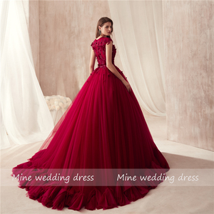 Image 4 - 2021 O neck Ball Gowns Burgundy Wedding Dress with Color 3D Flowers Applique with Rhinestones Crystals Bridal Gowns Reals