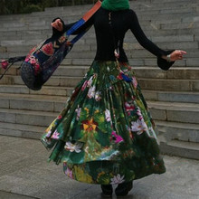 Fashion S-2XL เอวยืดหยุ่นเอวผู้หญิงฝ้ายและผ้าลินินกระโปรง Maxi